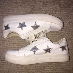 Shoes - Silver glitter star platform sneakers